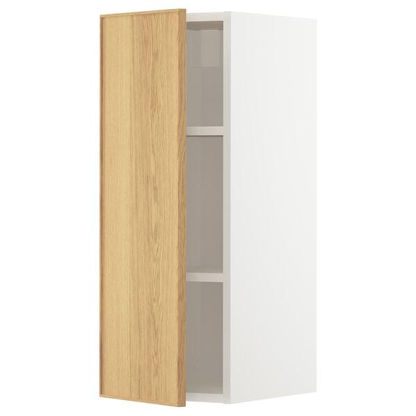 METOD Wall cabinet with shelves, white/Ekestad oak, 30x80 cm
