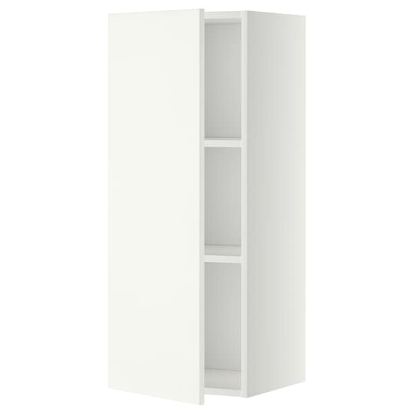 METOD Wall cabinet with shelves, white/Häggeby white, 40x100 cm