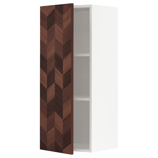 METOD Wall cabinet with shelves, white Hasslarp/brown patterned, 40x100 cm