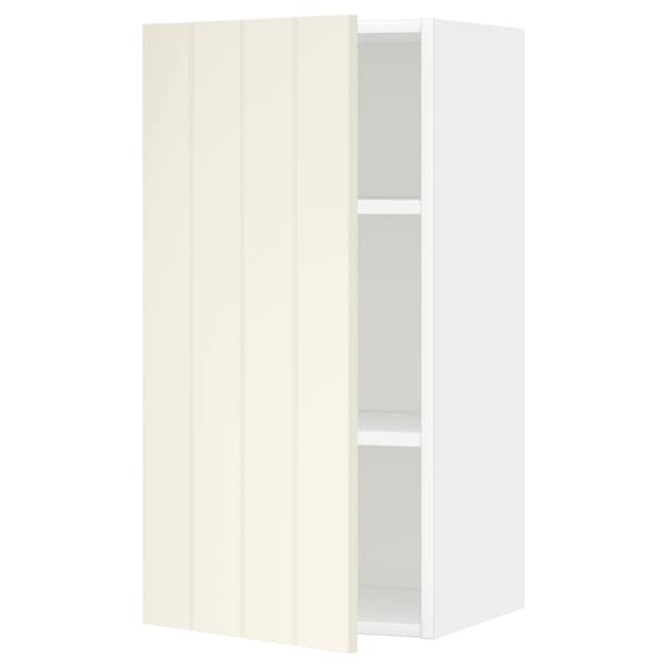 METOD Wall cabinet with shelves, white/Hittarp off-white, 40x80 cm