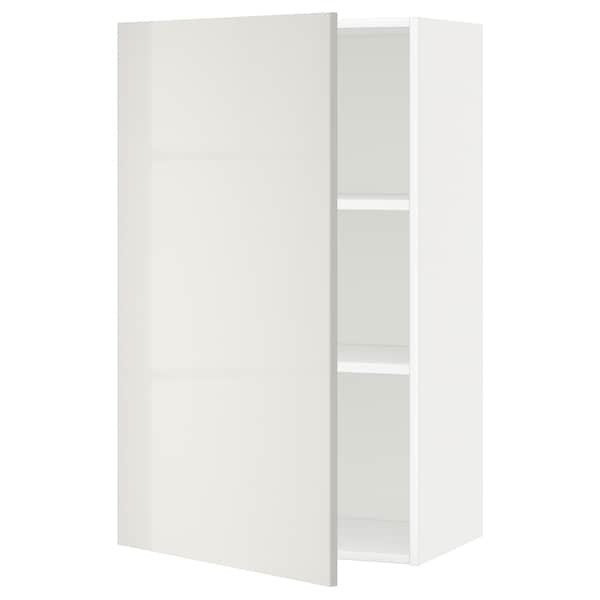 METOD Wall cabinet with shelves, white/Ringhult light grey, 60x100 cm