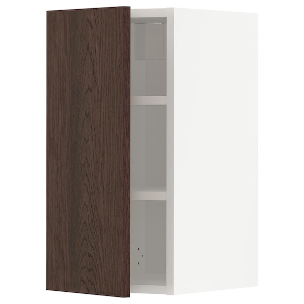 METOD Wall cabinet with shelves, white/Sinarp brown, 30x60 cm