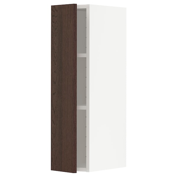 METOD Wall cabinet with shelves, white/Sinarp brown, 20x80 cm