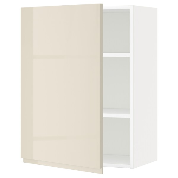 METOD Wall cabinet with shelves, white/Voxtorp high-gloss light beige, 60x80 cm