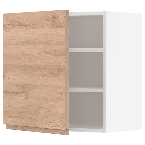 METOD Wall cabinet with shelves, white/Voxtorp oak effect, 60x60 cm
