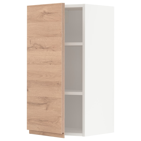 METOD Wall cabinet with shelves, white/Voxtorp oak effect, 40x80 cm