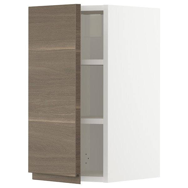 METOD Wall cabinet with shelves, white/Voxtorp walnut effect, 30x60 cm