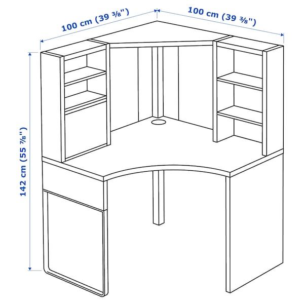 MICKE Corner workstation, white, 100x142 cm