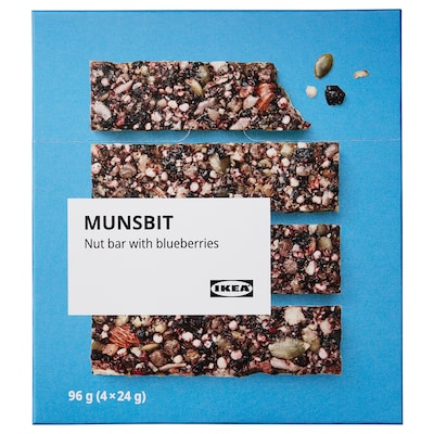 MUNSBIT Nut bar, with blueberries, 96 gx4 pieces