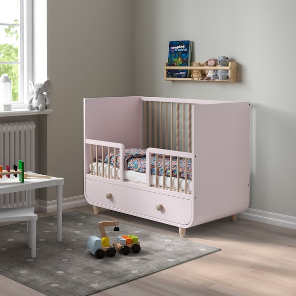 MYLLRA Cot with drawer, pale pink, 60x120 cm