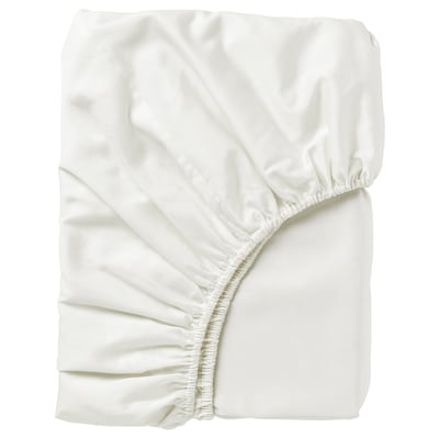 NATTJASMIN Fitted sheet, white, 180x200 cm