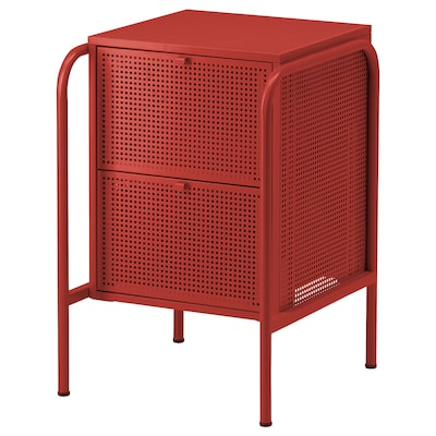 NIKKEBY Chest of 2 drawers, red, 46x70 cm