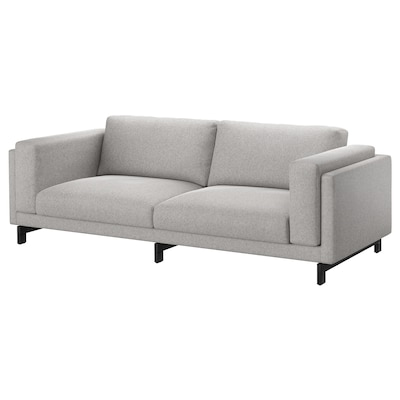 NOCKEBY Three-seat sofa, Tallmyra white/black/wood