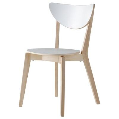 NORDMYRA Chair, white/rubberwood