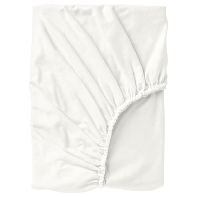 NORDRUTA Fitted sheet, white, 160x200 cm