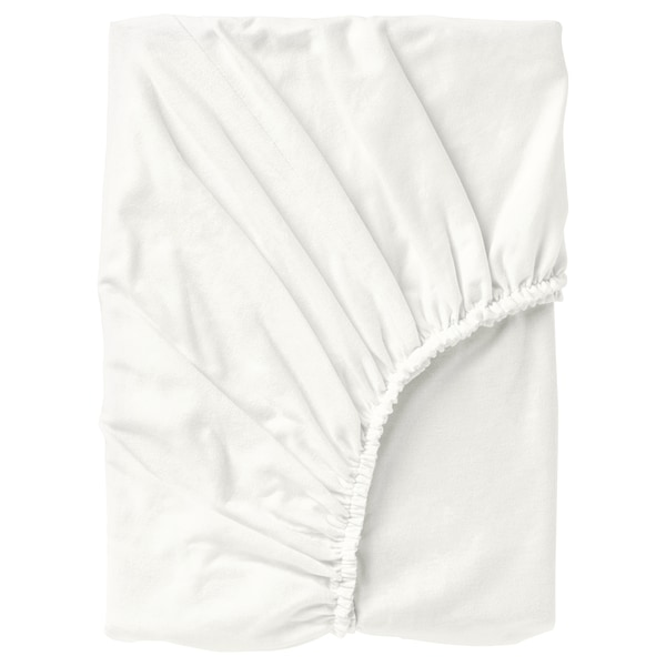 NORDRUTA Fitted sheet, white, 180x200 cm