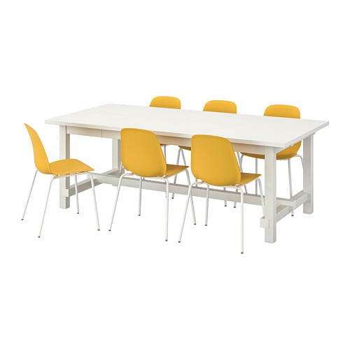 Nordviken Leifarne Table And 6 Chairs White Dark Yellow White