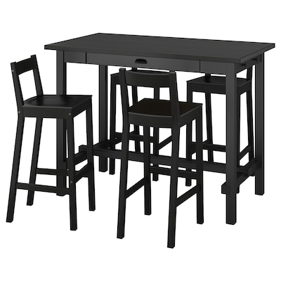 NORDVIKEN / NORDVIKEN bar table and 4 bar stools black/black