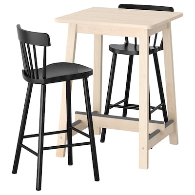 NORRÅKER / NORRARYD bar table and 2 bar stools birch/black 74 cm