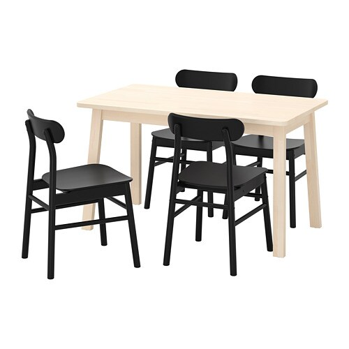 Norråker Rönninge Table And 4 Chairs Birch Black