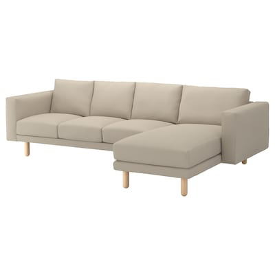 NORSBORG 4-seat sofa with chaise longue/Edum beige/birch 293 cm 85 cm 88 cm 157 cm 43 cm