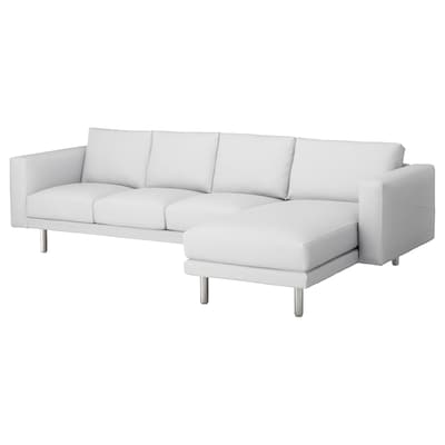 NORSBORG 4-seat sofa, with chaise longue/Finnsta white/metal