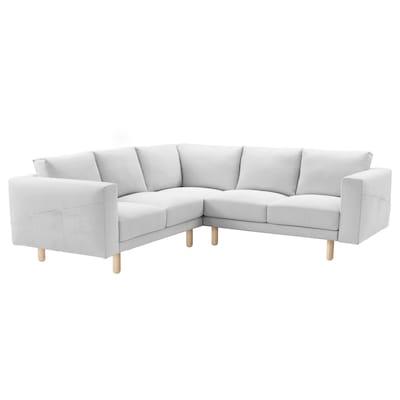NORSBORG Corner sofa, 4-seat, Finnsta white/birch