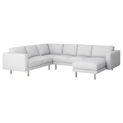 NORSBORG Corner sofa, 5-seat, with chaise longue/Finnsta white/metal