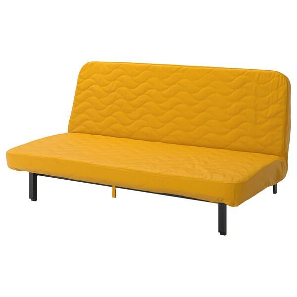 NYHAMN 3-seat sofa-bed, with foam mattress/Skiftebo yellow