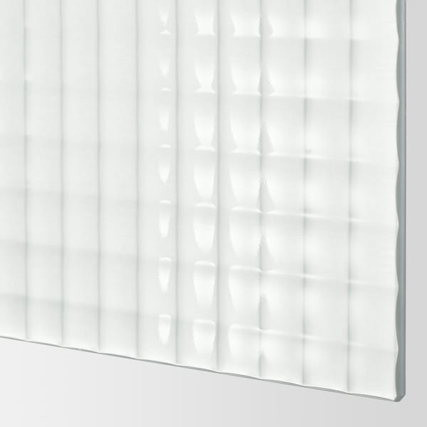 NYKIRKE 4 panels for sliding door frame frosted glass, check pattern  75 cm 236 cm 0.4 cm