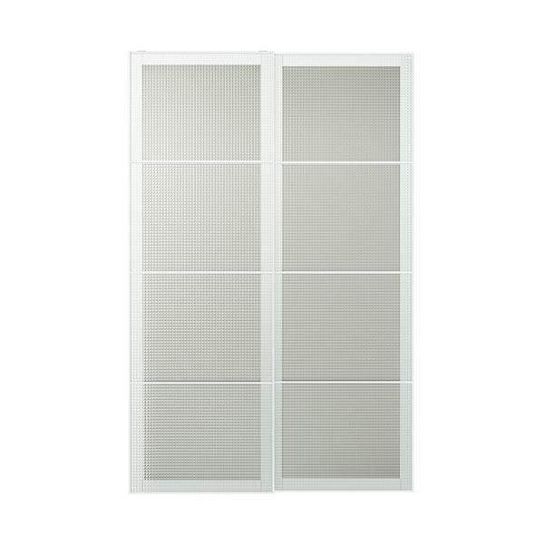 NYKIRKE Pair of sliding doors, frosted glass, check pattern, 150x236 cm