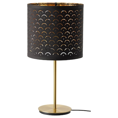 NYMÖ / SKAFTET Table lamp, black brass/brass