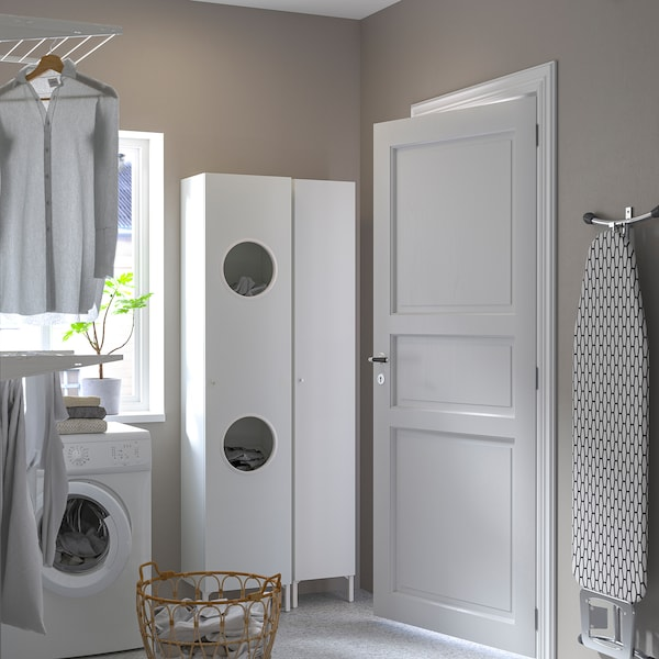 NYSJÖN Laundry cabinet, white, 40x190 cm