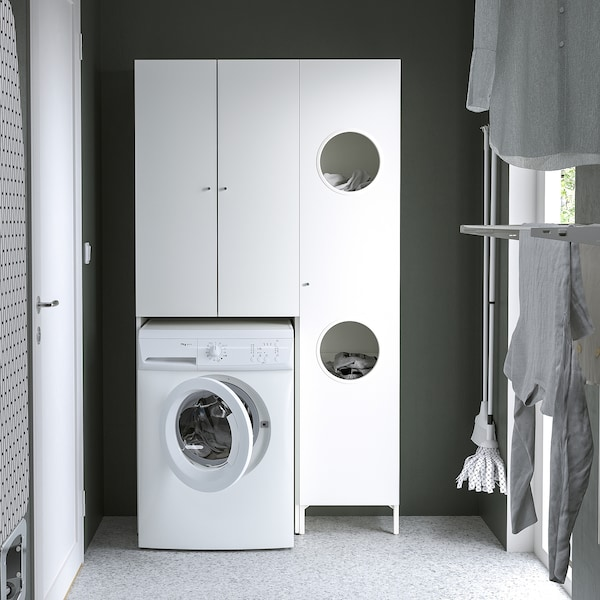 NYSJÖN Storage combination for laundry, white, 105x32x190 cm