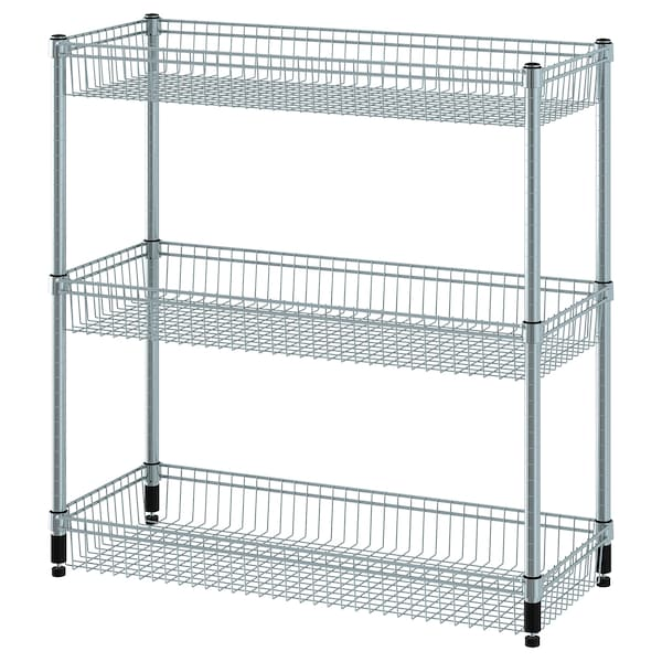 OMAR Shelving unit with 3 baskets, galvanised, 92x36x94 cm