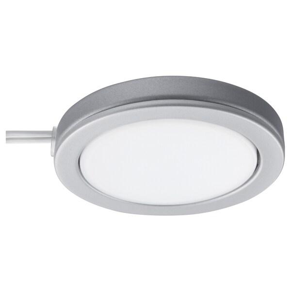 OMLOPP LED spotlight, aluminium-colour, 6.8 cm