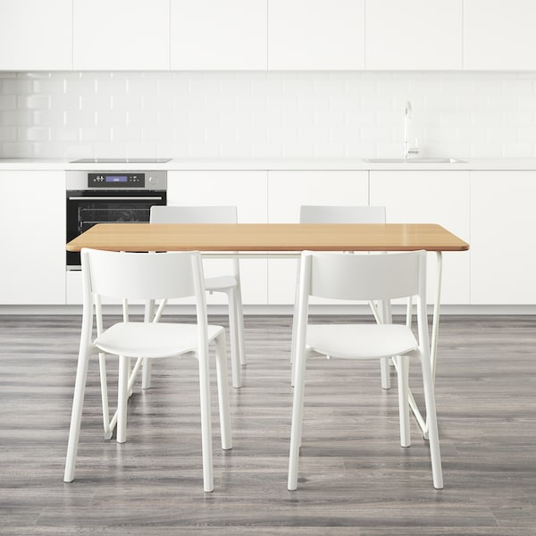 ÖVRARYD / JANINGE Table and 4 chairs, white bamboo/white, 150 cm