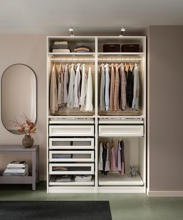 PAX 2 wardrobe frames, white, 150x58x236 cm