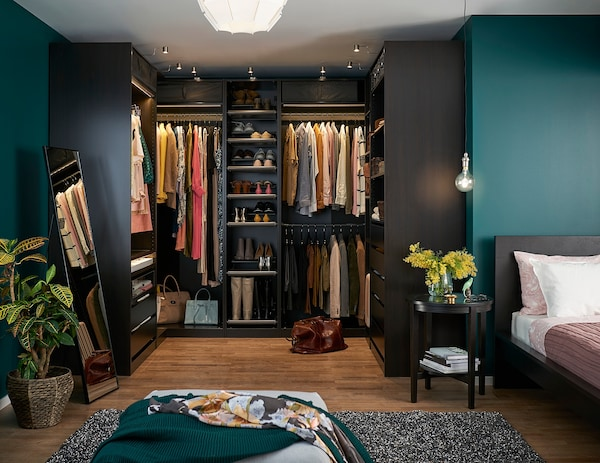 PAX Add-on corner unit with 4 shelves, black-brown, 53x58x236 cm