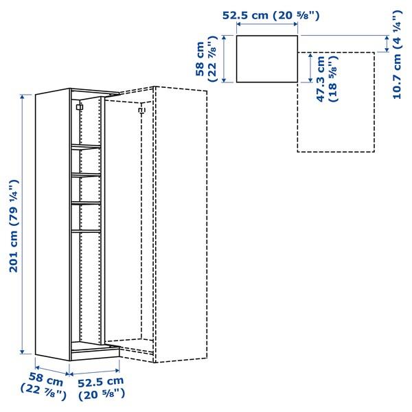 PAX Add-on corner unit with 4 shelves, white, 53x58x201 cm