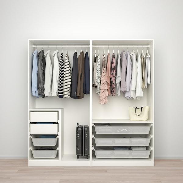 PAX / HOKKSUND Wardrobe combination, white/high-gloss light grey, 200x66x201 cm