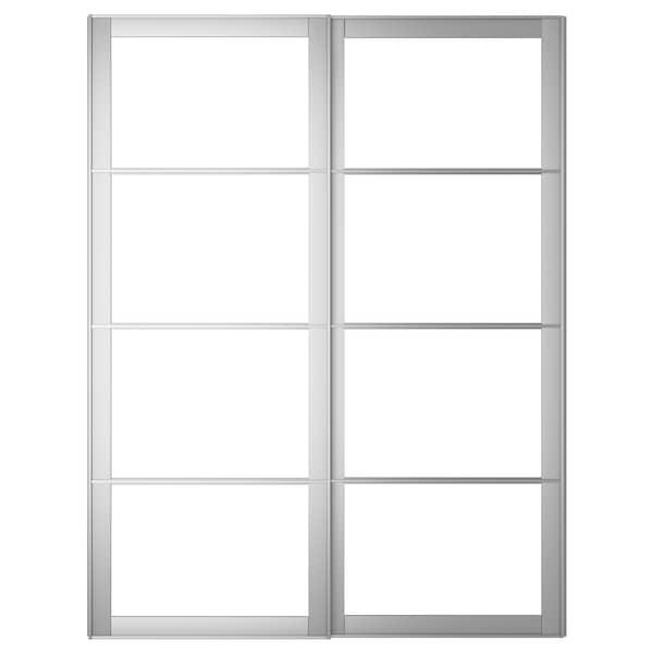 PAX Pair of sliding door frames w rail, aluminium, 150x201 cm