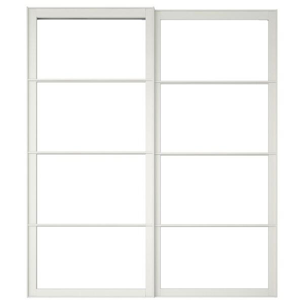 PAX Pair of sliding door frames w rail, white, 200x236 cm