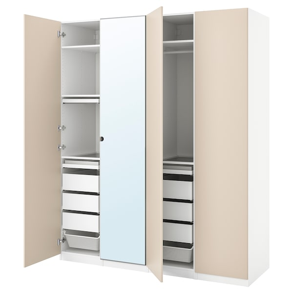 PAX / REINSVOLL/VIKEDAL Wardrobe combination, white/grey-beige mirror glass, 200x60x236 cm