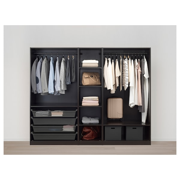 PAX Wardrobe, black-brown/Forsand black-brown stained ash effect, 250x60x201 cm
