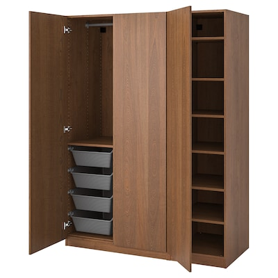 PAX Wardrobe, brown stained ash effect/Forsand brown stained ash effect, 150x60x201 cm
