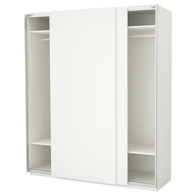 PAX Wardrobe, white/Hasvik white, 200x66x236 cm
