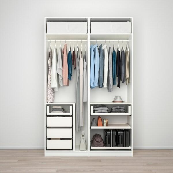 PAX Wardrobe, white/Hokksund light grey, 150x66x236 cm
