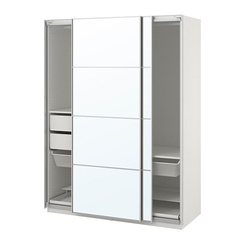 Pax Wardrobe White Auli Mirror Glass