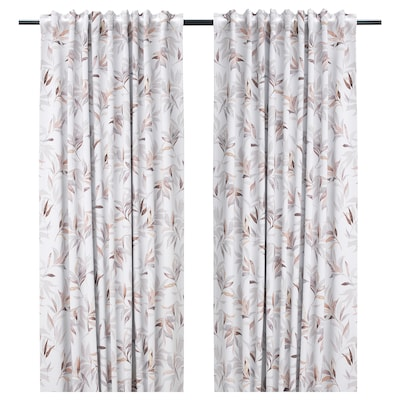 PIALOTTA Room darkening curtains, 1 pair, light beige/leaves, 145x300 cm